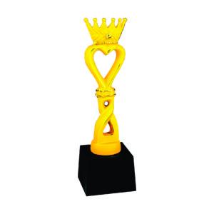Beauty Pageant Sculpture Trophies CTIFF301 – Golden Heart Crown Sculpture
